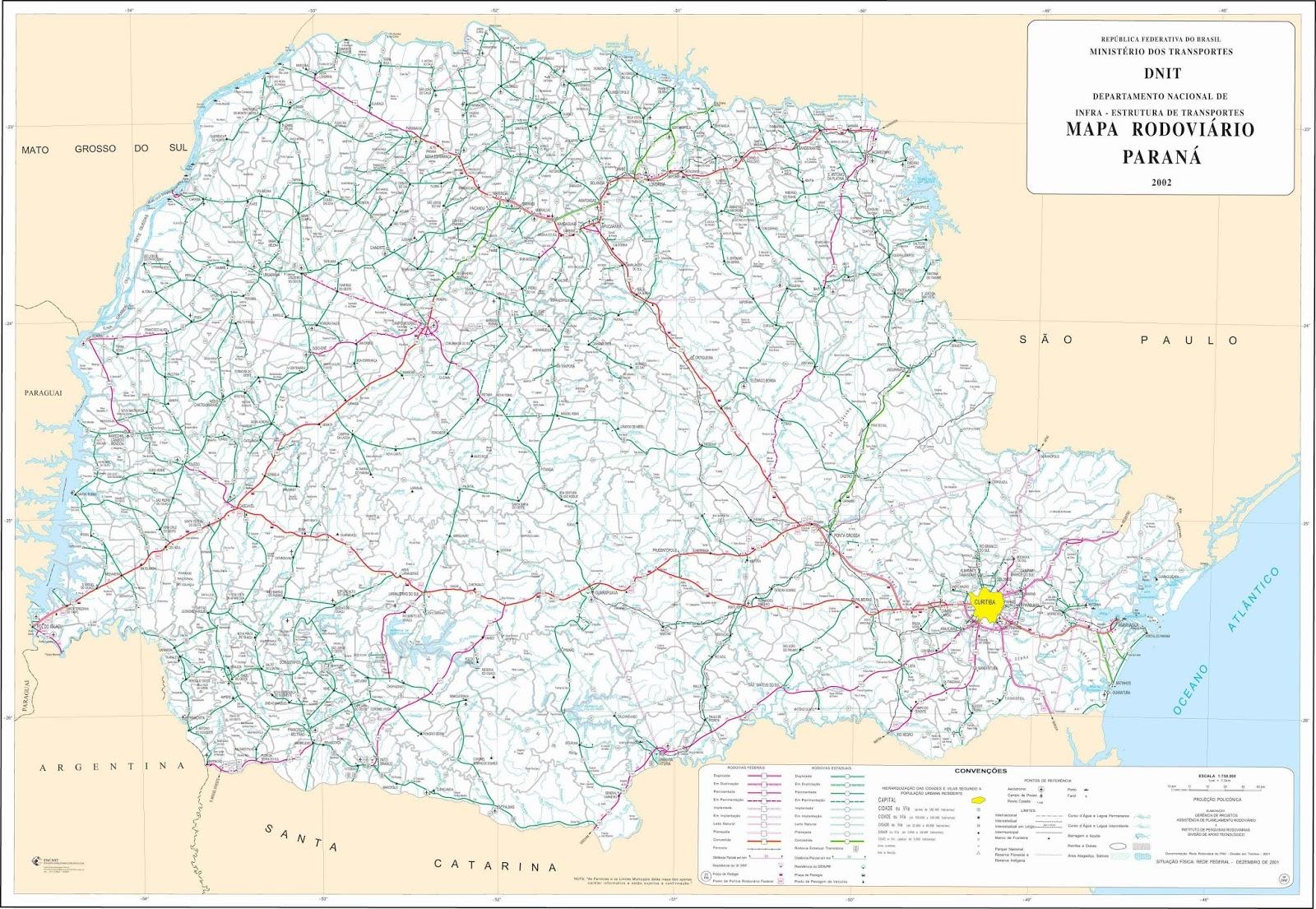 Mapa Rodoviário do Paraná
