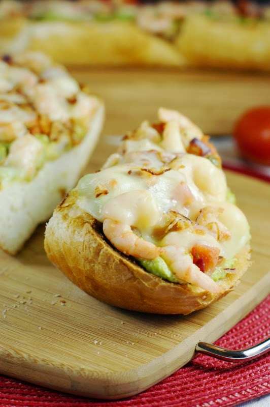 Spicy Guacamole Shrimp Melts