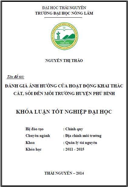 Đánh giá ảnh hưởng của hoạt động khai thác cát, sỏi tới môi trường huyện Phú Bình tỉnh Thái Nguyên