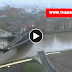 New (Scale Lane) Bridge in Hull open to let a barge go through