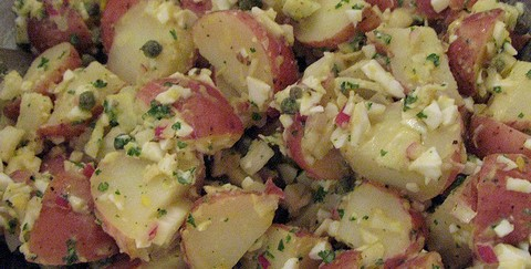 Cheesy Potato Salad with Green Onions and Mint