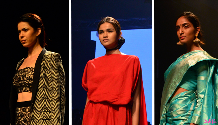 Image of female models with highlighted and contoured skin as a beauty trend for Atsu, Pella and Tulsi Silks on the runway at Lakme Fashion Week Winter Festive 2016