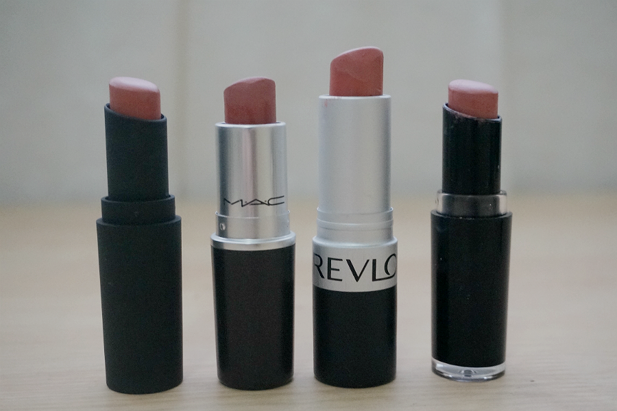 (L-R) Wet n Wild Mega Last Lip Color in Sweet Cream (Limited Edition), MAC Velvet Teddy, Revlon Matte Lipstick in Mauve It Over, Wet n Wild Mega Last Lip Color in Bare It All