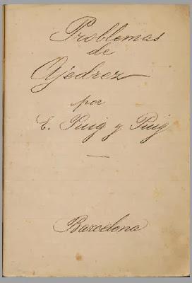 Manuscrito de Problemas de Ajedrez escrito por Esteve Puig y Puig