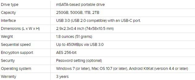 Samsung Portable SSD T3 Specs Key