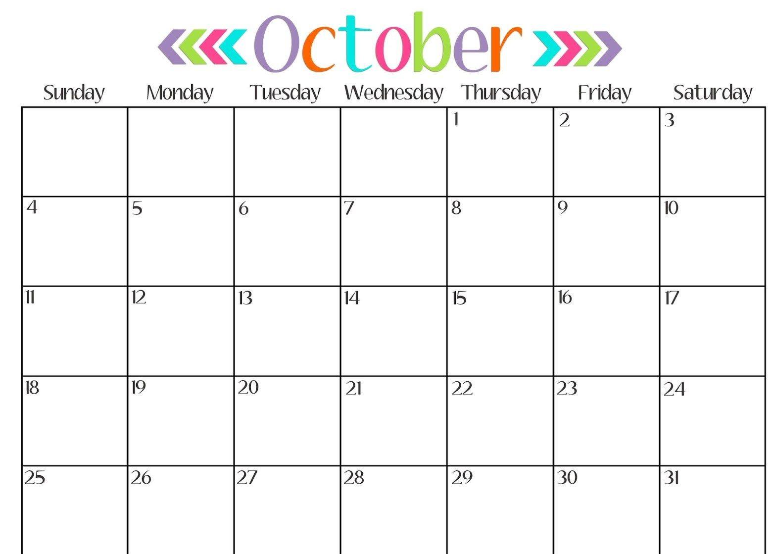 Get Printable Calendar October 2018 Printable Calendar