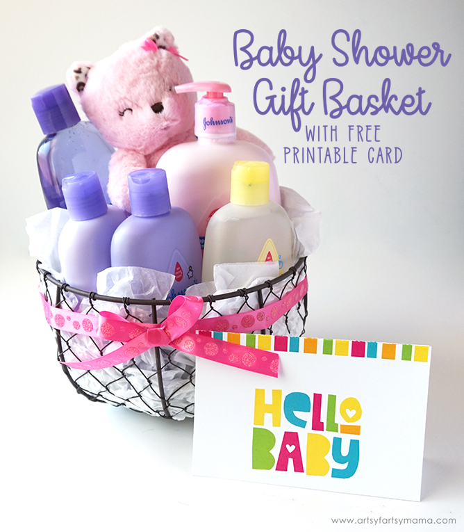 Baby Shower Gift Basket With Free Printable Card Artsy Fartsy Mama