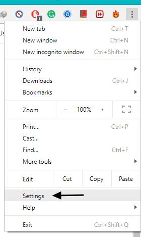 open chrome settings