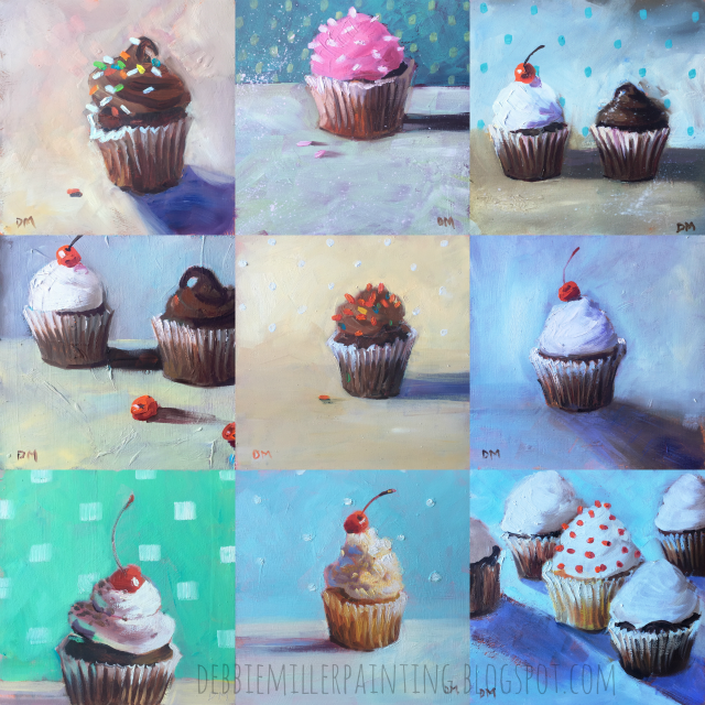 paintings of cupcakes, cupcake paintings by debbie miller