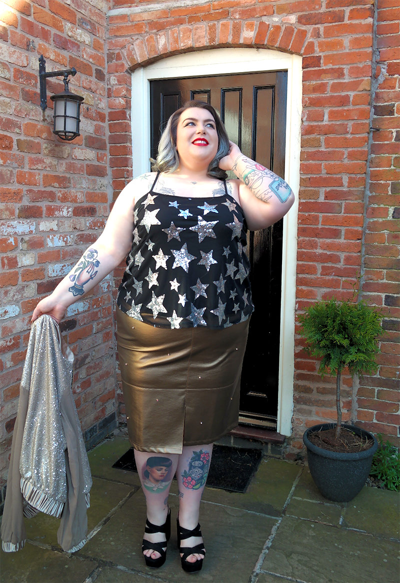 UK Plus Size Blogger Elvi Prima Bronze Pencil Skirt Review