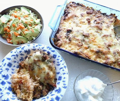 Burrito Casserole with Sour Cream, & Cabbage Carrot and Avocado Salad