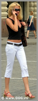 Lady wearing white summer pants