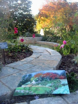 Fountain Atlanta Botanical Gardens  pastel painting artist Jillian Crider autumn pathway