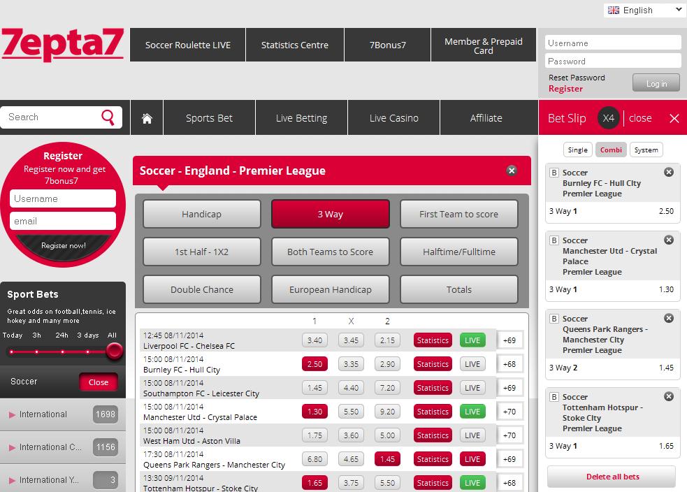 7epta7 Sportsbook Screen