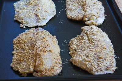 Low-Carb Almond and Parmesan Baked Fish found on KalynsKitchen.com