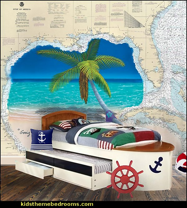 Nautical Style Boat Design Twin Size Bed  kids theme beds - childrens theme beds - themed beds - kids beds - themed toddler beds - unique furniture - castle loft beds - castle beds - animal beds - car beds - boat beds - train bed - airplane bed - batman bed - princess beds -  fantasy beds - playroom beds - boys beds - girls beds