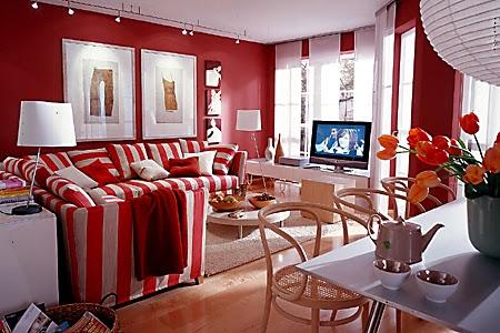 decoración sala roja