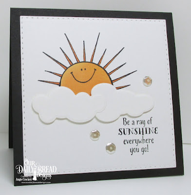 ODBD Hello Sunshine, ODBD Custom Clouds and Raindrops Dies, ODBD Custom Double Stitched Rectangles Dies, Card Designer Angie Crockett