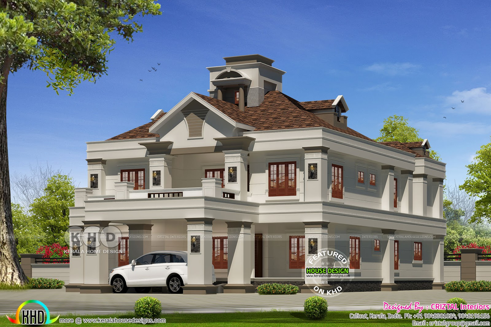 5 bedroom colonial model luxury house kerala home design for Colonial luxury house plans