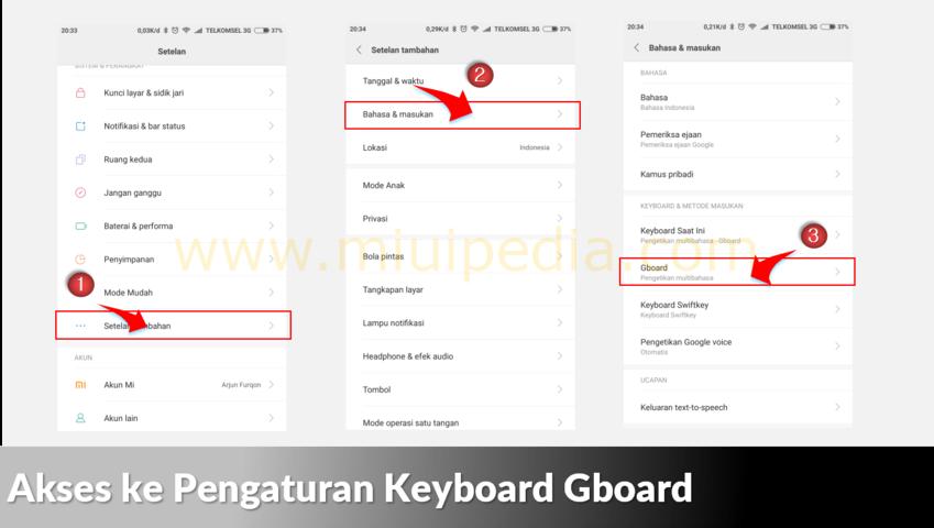Akses ke Pengaturan Keyboard Gboard