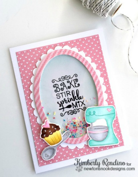 Baking Mixer Shaker Card by Kimberly Rendino | Made from Scratch Stamp Set by Newton's Nook Designs #newtonsnook