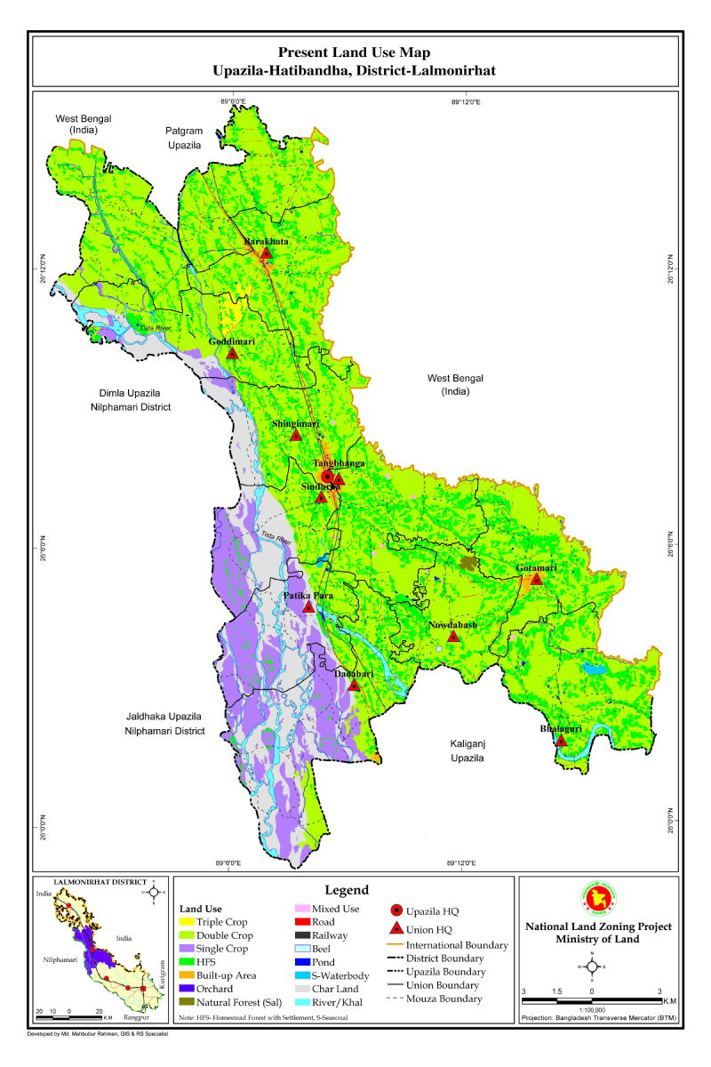 Hatibandha Upazila Mouza Map Lalmonirhat District Bangladesh