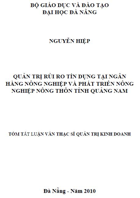 Quản trị rủi ro tín dụng tại ngân hàng nông nghiệp và phát triển nông thôn tỉnh Quảng Nam