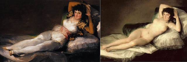 La Maja desnuda and La Maja vestida, by Goya