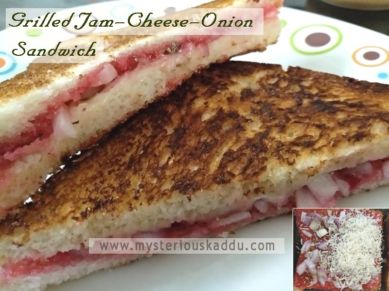 Must-Try Quirky Weird Food Combinations That Taste Amazingly Delicious: Grilled Jam-Cheese-Onion Sandwich