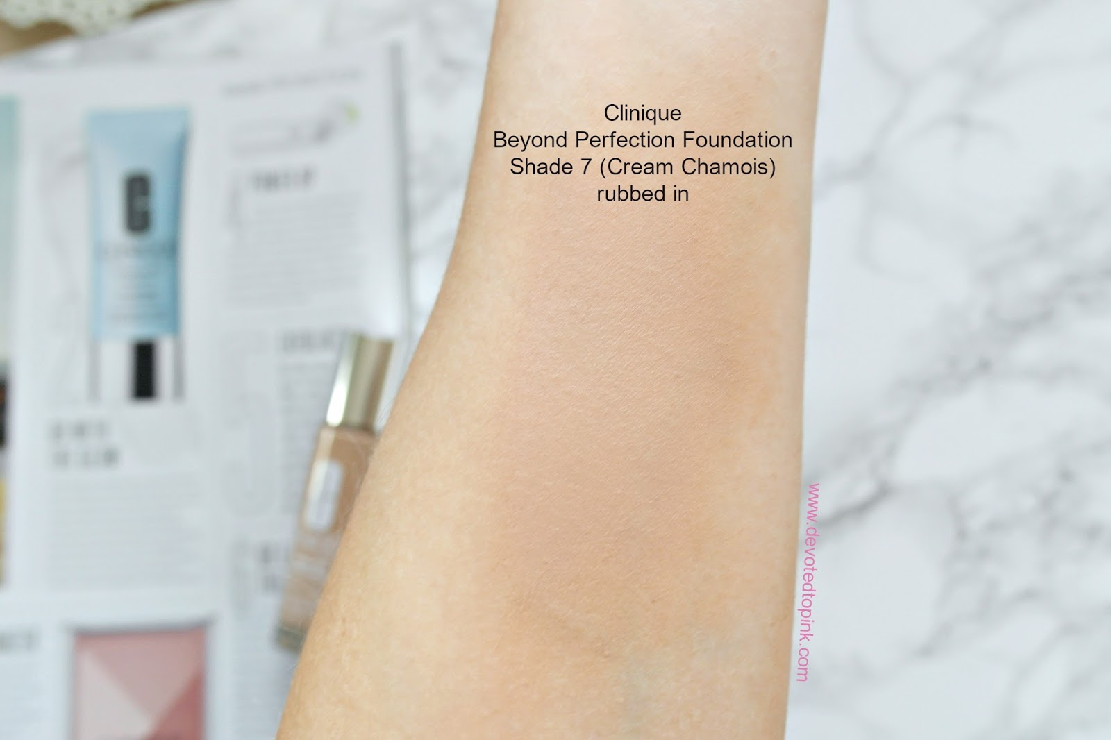 Clinique beyond perfection foundation and concealer, review, shade 7, cream chamois