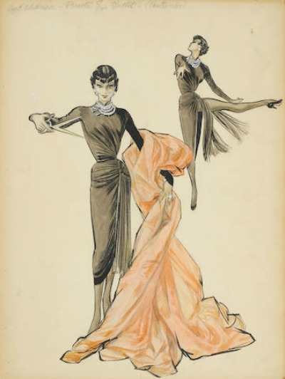 Mary Ann Nyberg Award Winning Costume Design Sketch for  Cyd Charisse in 1953's The Band Wagon