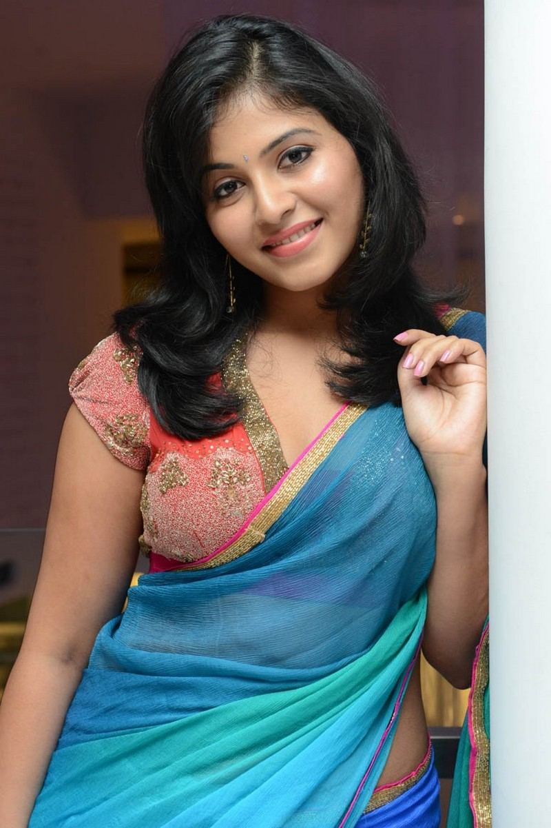 Actress Anjali Back And Side Boobs Show In Blue Saree -1521
