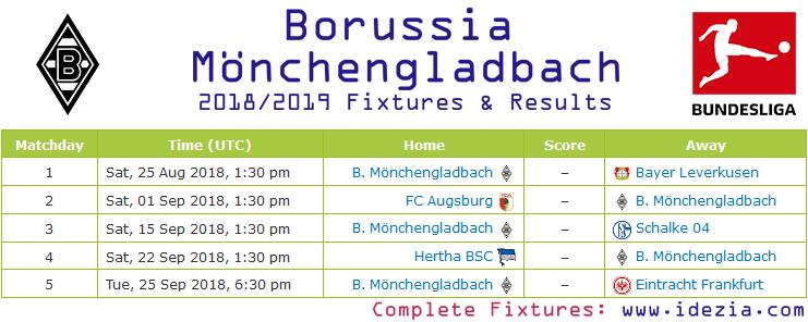 Descargar los partidos completos PNG JPG Borussia Mönchengladbach 2018-2019