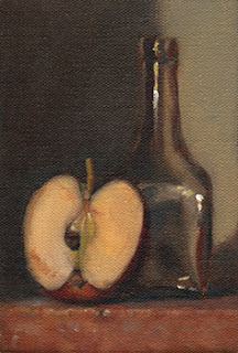 Still life oil painting of an apple half beside a small long-necked bottle.
