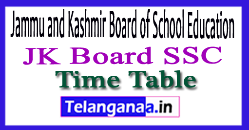 JKBOSE 10th Exam Time Table