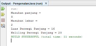 Program untuk menghitung luas dan keliling persegi panjang di Java