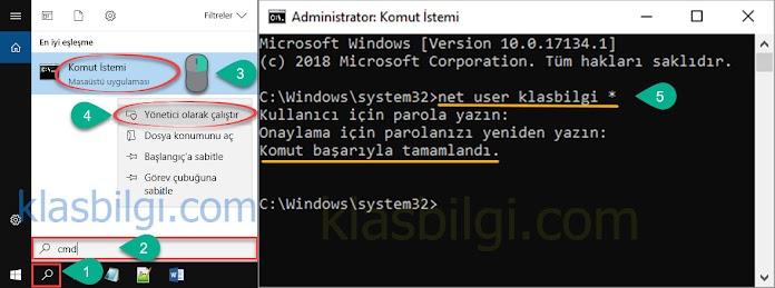 Windows 10 açılış şifresini Komut İstemi ile kaldırma