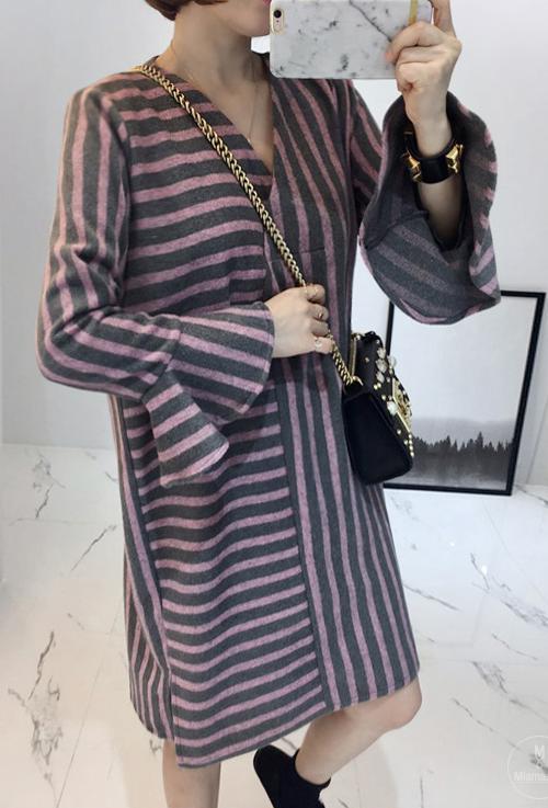 Striped Flounce Cuff Shift Dress