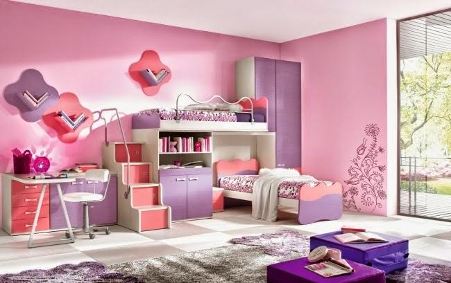 Cuarto lila rosa niña