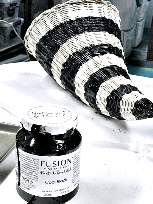 Black and white striped cornucopia