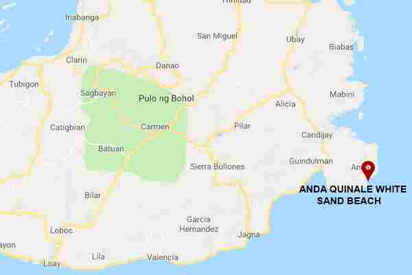 Best, peaceful, hidden and Famous tourist spots  long white beach in Anda quinale  bohol philippines 2018  Map