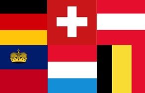 Banderas de los principales países de lengua alemana en la Unión Europea