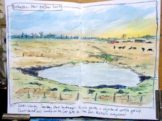 Ink and wc sketch of Burwell Fen, sketched in situ with colour added later