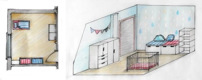 rzut, aksonometria, pokój morski dla chłopca | levelupstudio.blogspot.com