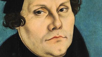 Detalhe do retrato de Martinho Lutero, feito por Lucas Cranach em 1528. (Texto publicado no Facebook em 31 de outubro de 2012 e revisado aqui).
