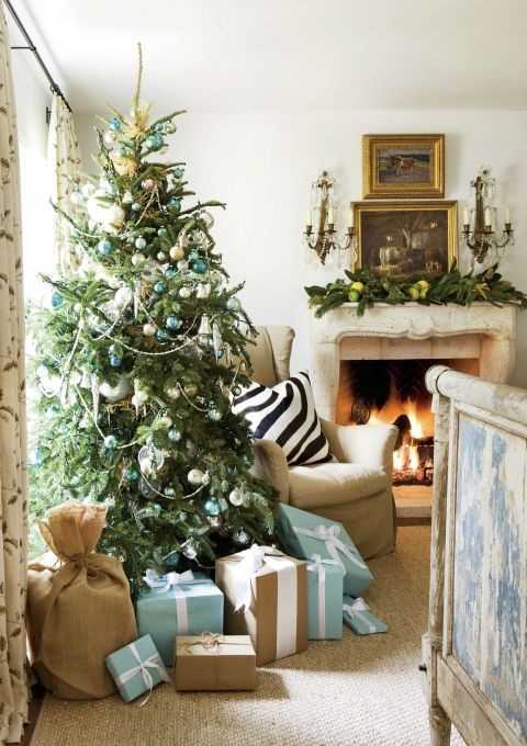 image result for beautiful living room fireplace tree gifts decorated for Christmas elegant sophisticated interior design