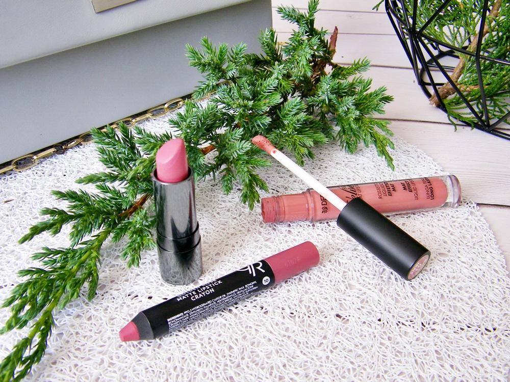 Ulubione pomadki na co dzień | Nabla Diva Crime | Golden Rose Matte Crayon | Deborah Milano Fluid Velvet Mat Lipstick