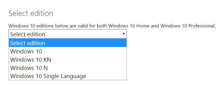 Pilih edisi Windows 10