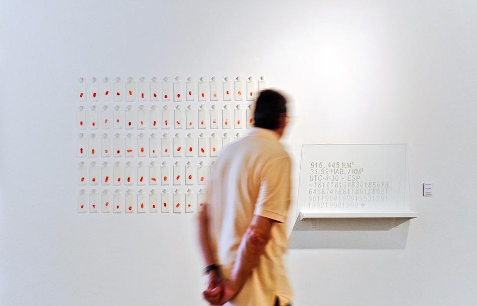 Vista de la instalación con visitante en el 38 Salon Nacional de Arte Aragua