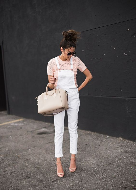 Hello Fashion - White Dungarees + Nude Givenchy Antigona Bag